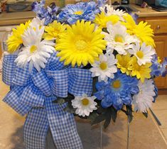 Spring or summer idea for headstone or grave flowers