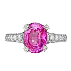 Pink Sapphire Diamond Ring | From a unique collection of vintage cocktail rings at http://www.1stdibs.com/jewelry/rings/cocktail-rings/
