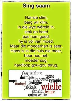 Rhyming Words For Kids, Kids Poems, Children Songs, Toddler Learning Activities, Kids Learning, Preschool Church Crafts, Animals Name In English, Storybook Party, Afrikaans Language