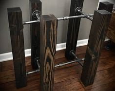 CUSTOM ORDER: Special design and size. This simple design is a beautiful and unique solid wood beam and iron pipe table … – metal of life Pipe Furniture, Industrial Furniture, Rustic Furniture, Industrial Pipe, Woodworking Projects Diy, Diy Wood Projects, Table Cafe, Dining Table, Diy Tisch