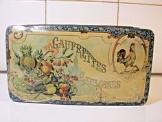 Rare French Advertising Biscuits Tin 1900 Gaulian Wafers Rooster Blechdose
