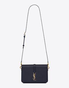 78d17e6103a SAINT LAURENT Classic Medium Monogram Saint Laurent Université Bag In Navy  Blue Grained Leather. #