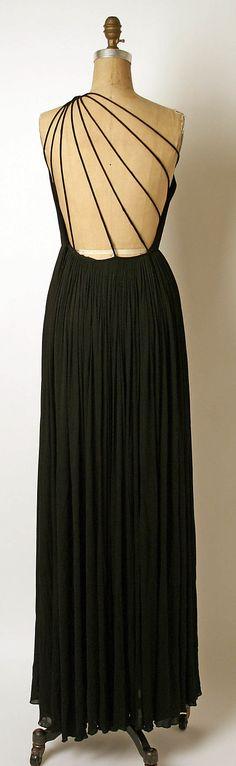 """Evening Dress (back view), Madame Grès (Alix Barton)  (French, Paris 1903–1993 Var region): 1981, French, silk. Marking: [label] """"GRES / 1 RUE DE LA PAIX PARIS"""""""