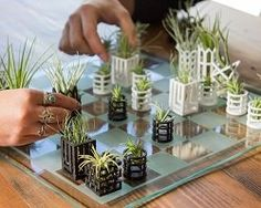 Is this one of the best chess sets you've seen? This innovative printed chess set doubles as stylish containers for real air plants. Mini Terrarium, Kids Chess Set, Chess Sets, Mini Plantas, Glass Chess Set, Mini Vasos, 3d Printing Diy, Paper Plants, Miniature Plants