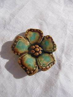 blue ceramic cabochon flower by ceramicpoppy