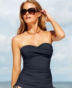 Anne Cole Twist-Front Ruched Tankini Top - Blue XS
