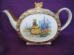 SADLER TEAPOT WITH  CRINOLINE LADY AND GOLD FLORAL PATTERN