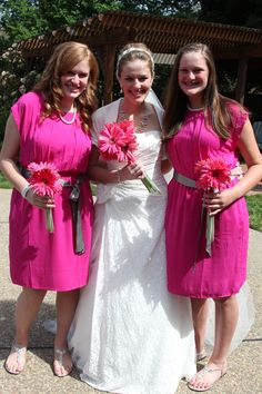 The bridesmaids' dresses were from Old Navy. $24 bucks each. I just added a ribbon belt and some handmade jewelry to complete the outfit.