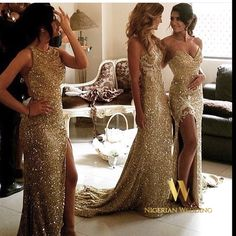 Nigerian wedding sequin bridesmaids dresses 14