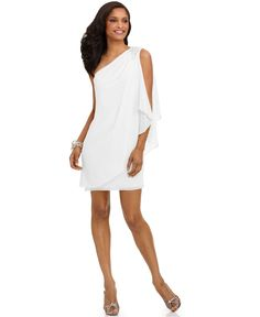 Wedding Rehearsal Dress??    JS Boutique Dress, One Shoulder Draped Evening Dress - Womens Dresses - Macy's