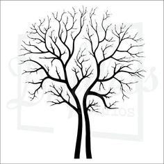 Tree stencil Laser cut into an x ray film Wall Stickers Romantic, Tree Outline, Thumbprint Tree, Tree Stencil, Stencils, Tree Svg, Vector Trees, Bare Tree, Tree Patterns