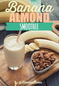 Banana Almond Smoothie from Valerie Coswell via @BlenderBabes | Need a go-to smoothie for those busy mornings and afternoons? Try my Banana Almond Smoothie – It's sweet, simple and perfectly balanced to help you burn fat, build muscle, increase your energ Almond Smoothie Recipe, Flaxseed Smoothie, Fruit Smoothie Recipes, Good Smoothies, Morning Smoothies, Green Smoothies, Kiwi, Healthy Afternoon Snacks, Weight Loss Smoothies