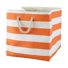 Stripes Around the Floor Bin (Orange) in Hampers & Storage | The Land of Nod $19.95 #nodwishlistsweeps