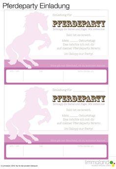 Einladungskarte für den Pferdegeburtstag. Ihr müsst nur noch entscheiden wer bei der Pferdeparty dabei sein soll! Im Download von Limmaland gibt es aber noch viel mehr Spielideen und Dekorationsmaterial für eine gelungene Pferdekindergeburtstag. Nun kann der Kindergeburtstag kommen // horse birthday party ideas and decoration www.limmaland.com