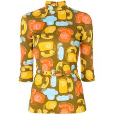 Miu Miu belted phone print top ($920) ❤ liked on Polyvore featuring tops, yellow, miu miu, print top, mixed print top, belted top and viscose top
