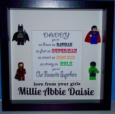 Lego superhero Father's Day framed gift. by OurLucidDream on Etsy