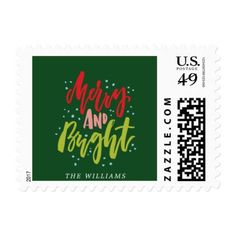 Merry and Bright Holiday Postage - christmas cards merry xmas family party holidays cyo diy greeting card