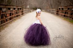 Plum Flower Girl Dress.....Corset top and by HippityHootNotion