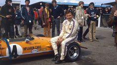 legendsofracing:  Bruce McLaren weekend!  Bruce McLaren resting on his McLaren M7A, 1968.