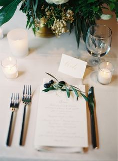 Like the tea light candles and the little berry branch on the menu    cozy wedding on once wed   jessica sloane
