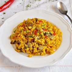 Spanish Saffron Rice with Spicy Mushrooms and Onions,spanish Cuisine Onion Recipes, Rice Recipes, Vegetarian Recipes, Spanish Saffron, Spanish Rice, Saffron Recipes, Saffron Rice, Stuffed Mushrooms, Stuffed Peppers