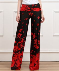 Look at this Red Floral High-Waist Palazzo Pants on #zulily today!