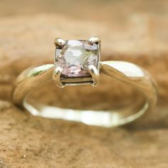 Square princess  purple spinel in silver bezel and prongs setting with sterling silver high polished band