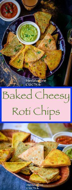 Herbivore Cucina: Baked Cheesy Roti Chips