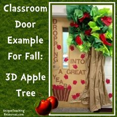 """""""Dropping Into A Great Year"""" - I love this eye catching 3 dimensional apple tree classroom door display idea."""