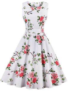 Robe Patineuse Floral Imprimé Longueur Aux Genoux
