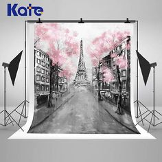 Oil Painting  Eiffel Tower Street City Photography Backdrops Pink Flowers Trees Photo Backgrounds for Wedding Party Studio Props