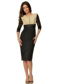 Rochie eleganta cu maneci dantela negru si crem R235i067