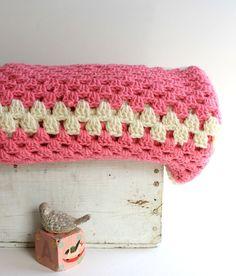 Vintage Baby Pink Crochet Blanket. .