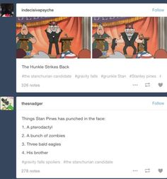 Things Stan Pines has punched in the face