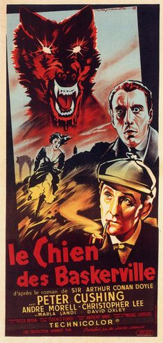 French poster for HOUND OF THE BASKERVILLES (1959)  Directed by Terrence Fisher  Starring Peter Cushing, Christopher Lee & John Le Mesurier