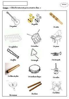 Imagier gratuit à imprimer, les instruments de musique (2