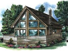Windows galore and soaring ceilings create a lot of drama in these cabin House Plans. A wrap-around kitchen with eating bar, views the dining area and outdoors beyond. The spacious great room is complete with a warming fireplace, and a roomy sleeping loft views the living spaces below. Plus, the large sun deck enhances outdoor living.
