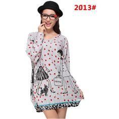 Plus size fashion pattern women's pullovers American & European women long tops Autumn clothing sweatshirts free shipping