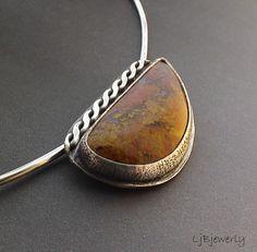 Sterling Silver Necklace, Sterling Silver Pendant, Sunburst Jasper Cabochon, Gemstone Necklace, Organic Style, OOAK, by LjBjewelry