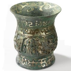 Bronze vessel aged to a rich blue-green colour and inlaid with silver. #BronzeVessel