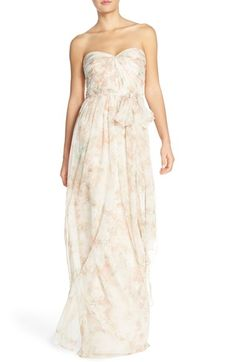 Jenny Yoo 'Nyla' Floral Print Convertible Strapless Chiffon Gown available at #Nordstrom