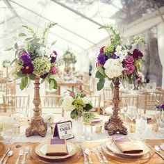 Regal purple, green and white centerpieces | Anne Marie Photography