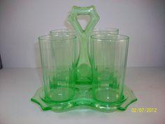 Cambridge Uranium Depression Glass Set of 4 Glasses and Carrier, Vaseline glass Vintage Dishes, Vintage China, Fenton Glassware, Vaseline Glass, Art Sculptures, Coffee Set, Kitchenware, Kitsch, Vases