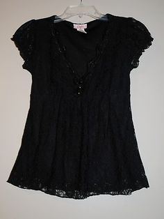 Sexy Floral Black Lace Blouse Top size Women's Small or Junior's Medium