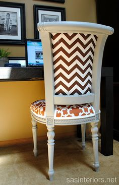 Cute Reupholstered Chair- helpful tips for reupholstering chairs with fabric inserts at back-like the idea of different patterns Furniture Projects, Diy Furniture, Furniture Design, Accent Furniture, Chair Design, Vintage Furniture, Painted Furniture, Chair Makeover, Furniture Makeover