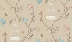 Birdcage Walk (NCW3770/01) - Nina Campbell Wallpapers - A subtle combination of blue songbirds and white gilt cages set on coffee brown trailing pink blossomed branches on a metallic silver/gold background. 6 colourways available. Co-ordinating fabric available. Please ask for sample for colour match.