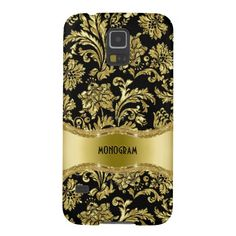Black & Gold Metallic Floral Damasks-Customized Case For Galaxy S5