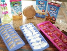 Make your own, custom ice cubes! Get yourself a couple of extra ice trays and fill them up with either fresh made juice, almond milk or coffee!! You can even sneak some strawberry slices into your cubes like in your Tone It Up Nutrition Plan ;)