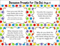 Make Your Mark on International Dot Day! Free Discussion Prompts to use with the book The Dot. Use with the book when celebrating International Dot Day (September Make Your Mark on International Dot Day! Teaching Language Arts, Teaching Art, Teaching Ideas, Language Activities, Teaching Resources, The Dot Book, International Dot Day, Dots Free, Library Lessons