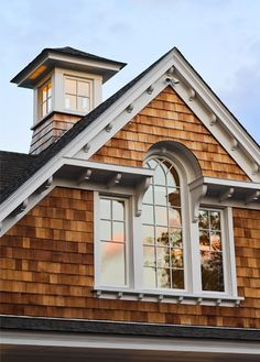 Exterior Millwork has an impact on curb appeal and authenticity of style. Cupola on a New England shingle style home Shingle Style Architecture, Shingle Style Homes, Beautiful Architecture, Architecture Details, Porches, Architectural Elements, Architectural Shingles, Coastal Homes, Cottage Style
